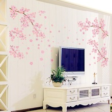 Plum restaurant bedroom living room sofa TV backdrop Wall Stickers decoration Removable waterproof  PVC pink flower wall paper