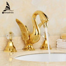 Basin Faucets Dual Crystal Handle Swan Bathroom Sink Taps Gold-plating Deck Mounted Vanity 3 Hole Washbasin Water Crane LH-16829(China)