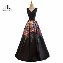 LOVONEY Evening Dresses Long A Line V Neck Sexy Formal Dress Flower Pattern Satin Party Dresses Evening Gown Lace-Up Back M242(China)