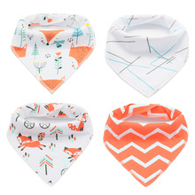 Happy flute 4pcs Set Baby Kids Toddler Feeding Bandana Bibs Saliva Towel Triangle Head Scarf(China)