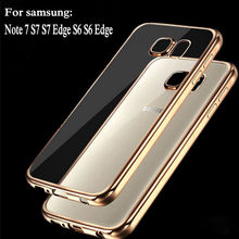 Coque For samsung galaxy S6 Edge S6 S8 Case Clear Transparent Gold Plating Soft TPU Back Cover For samsung S7 Edge Crystal Case