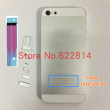 full Housing Assembly For iPhone 5S 5g Back Battery Cover Case Rear cover with key with battery paste button Replace part