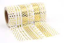 Hot sale! 6X 10m Gold Foil Gilded arrow, Dot,heart,Triangle,Wave designs Tapes for  DIY Deco Masking Japanese Washi Tape Lot