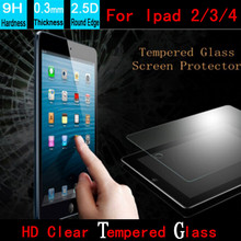 Customized 0.3MM Round Edge Tempered Glass Screen Protector For Apple ipad 2/3/4 LCD Glass Protective Film +Book Retail Packing(China)