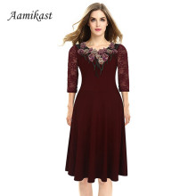 Buy Aamikast 2017 Summer Women Vintage Embroidery Dress Elegant Floral Applique A-Line Office Dresses 4XL Plus Size Vestidos for $14.63 in AliExpress store