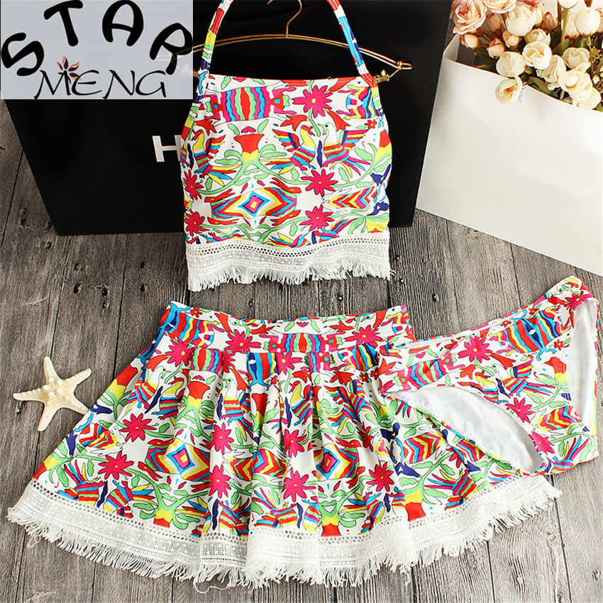 2017 Staerk Original Twill Folk Style Swimsuit Bandage Totem Small Chest Split Skirt Gathered Three Of Hot Spring Bathing Suit <br>