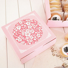 Hot Sale 12*12*4.5cm10pcs pink sakura cherry Cheese Cake Paper Box Cookie Container gift Packaging Wedding Christmas Use