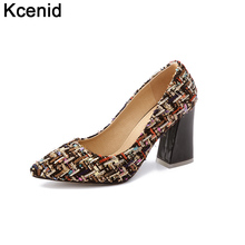 Kcenid Big size 33-46 fashion women's shoes 2018 spring new chunky high heels women pumps sexy pointed toe shallow party shoes(China)