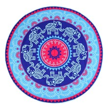 Summer Indian Mandala Round Elephant Floral Print Tapestry Wall Hanging  Beach Throw Yoga Mat Decorative 150Cm Beach Towel New