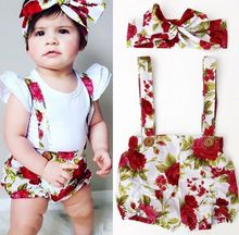 Floral Toddler Baby Kids Girls Rompers Jumpsuit Shorts Pants + Headband Summer Outfits Clothes Set(China)