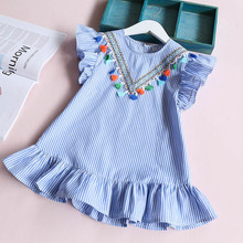 High quality 2017 summer girls dress girl clothing preppy Style dress for girl striped princess dress kids clothing for 2-7 year