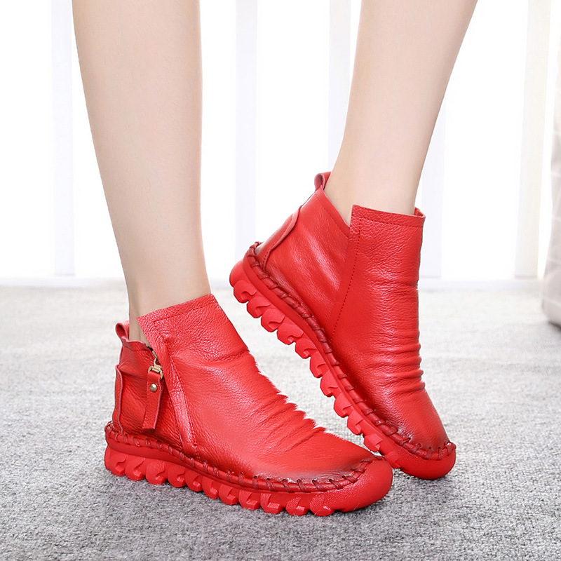 High Quality New Arrival 2017 Size35-40 Genuine Leather Women Boots Zipper Genuine Cowhide Leather Boots Handmade Leather Shoes<br><br>Aliexpress