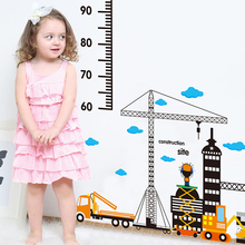 [SHIJUEHEZI] Removable Height Measuring Wall Stickers Construction Site Cartoon Stickers for Kids Room Nursery School Decoration