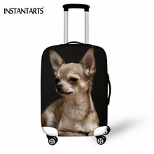 INSTANTARTS Travel On Road Luggage Protect Covers Apply to 18-30 Inch Suitcase Elastic 3D Chihuahua Dog Printed Dust Rain Cover(China)