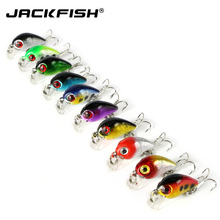 JACKFISH 3D eyes Fishing Lure 10 pcs/lot 4CM Plastic Lures with 10# Hooks Hard Baits Isca artificial lure Fishing Tackle(China)