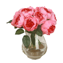 Creative Bouquet 6 Heads Artificial Peony Silk Flower Leaf Home Wedding Party Decor Happy Gifts High Quality