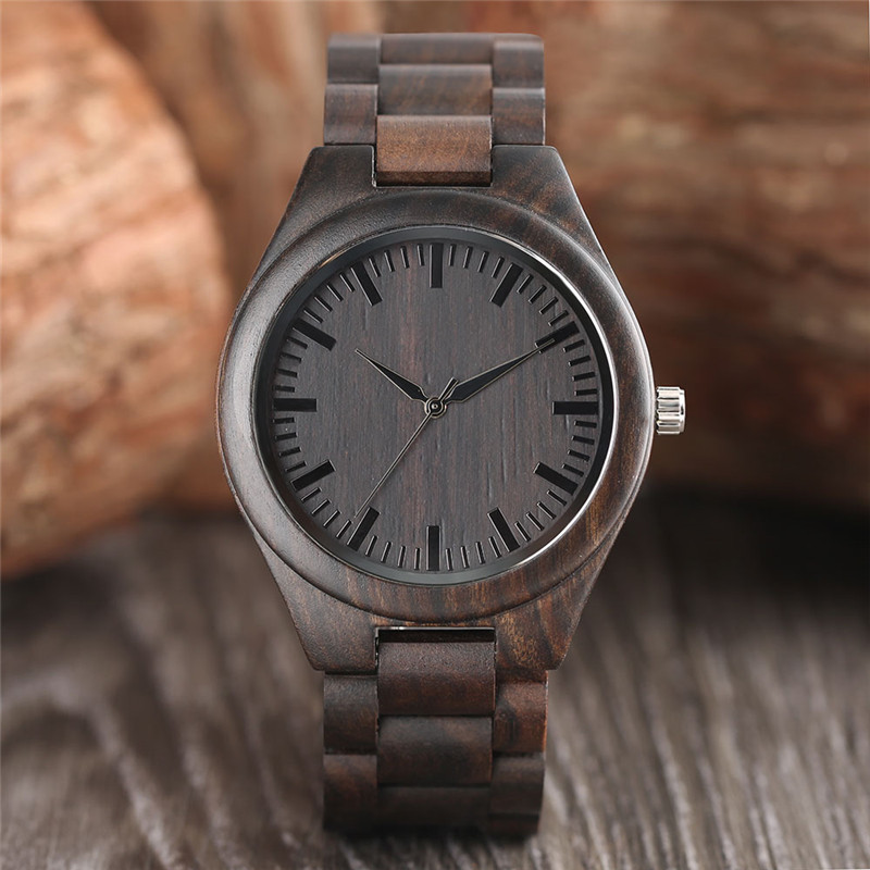 High Quality Cool Black Mens Full Wooden Bamboo Watch Case Wood Band Bracelet Clasp Casual Natural Style Male Clock Gift reloj<br>