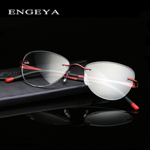 2016 ENGEYA Optical Clear Lens Glasses Frame Prescription Eyewear Rimless Myopia Eye Glasses Frames For Women Unique Hinge #8034