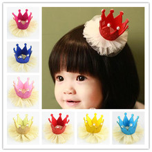 10pcs/lot 10colors Girls Cute Gold Powder Net Yarn Flower Crown with Clips Kids  DIY Crafts Hair Accessories