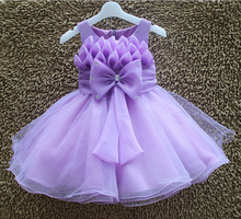 Retail ! Girl's Party Dresses  Sleeveless Big Bow Petal Children Evening Dress Fashion Flower Girl Dress 3-8y