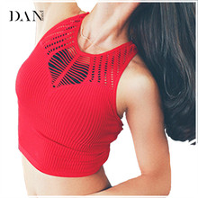 DANENJOY Seamless Spider Hollow Out Cropped Yoga Tops Red Sleeveless Dance Fitness Tank Top Breathable Workout Vest Sports Bra