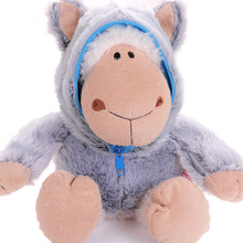 candice guo! New style Nici plush toy Jolly Logan sheep zipper wolf head clothes soft stuffed doll birthday gift 35cm 1pc