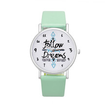 Relojes Mujer 2016 Women Follow Dreams Words Pattern Leather Watch Ladies Fashion Quartz Analog Clock Wrist Watch