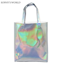 Luxury Brand Women Shoulder Bag Hologram Leather TopHandle Bags Silver Ladies Shopper Bag Large Capacity Tote Handbags Beach Bag(China)