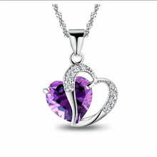 Contracted Heart Shaped Pendant Women Silver Jewelry Collarbone Chain Student Individuality Purple Zircon Crystal Necklace TP87(China)