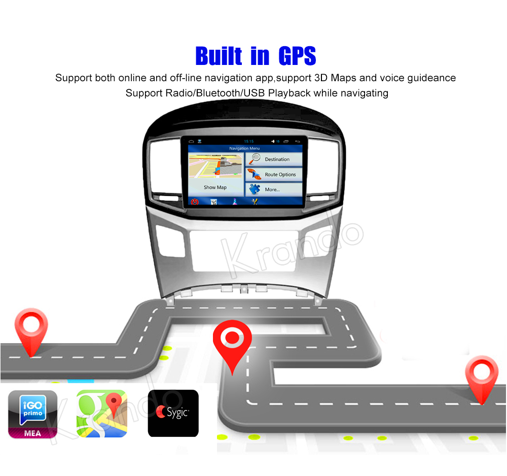 Krando Android car radio gps navigation multimedia system for hundai h1 grand starex royale travel cargo 2007 2008 2009 2010 2011 2012 2013