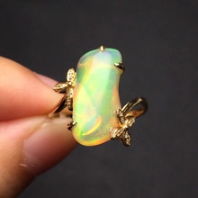 gems 3.85ct gold 2.02g real 18K ring Gold Top grade natural opal ring for women fine jewelry fine rings(China)