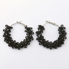 LWONG New White Black Floral Lace Hoop Earrings for Women Garland Circle Earrings Hoops Preety Holiday Earrings Jewelry Gifts(China)