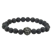 2017 New Design Antique Energy 8mm Black Rock Lava Stone Bead with  Buddha Leo Lion Bracelets for Men Women Jewelry