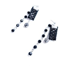 2017 Black Fashion Lace Earrings for Women New Arrival Long Black Flower Earrings Best Quality Fine Jewelry