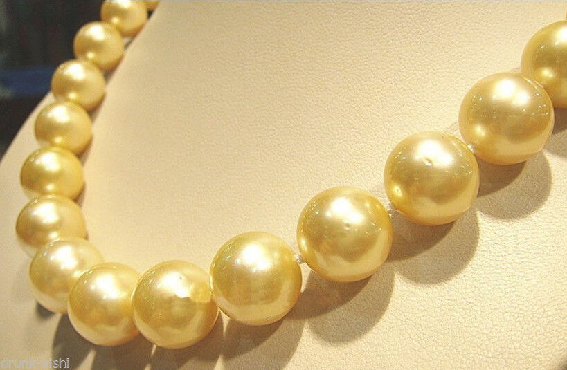 "NEW ARRIVE 10-11mm natural ROUND SOUTH SEA GOLDEN PEARL NECKLACE 18 ""   hook wholesale women's jewelry"