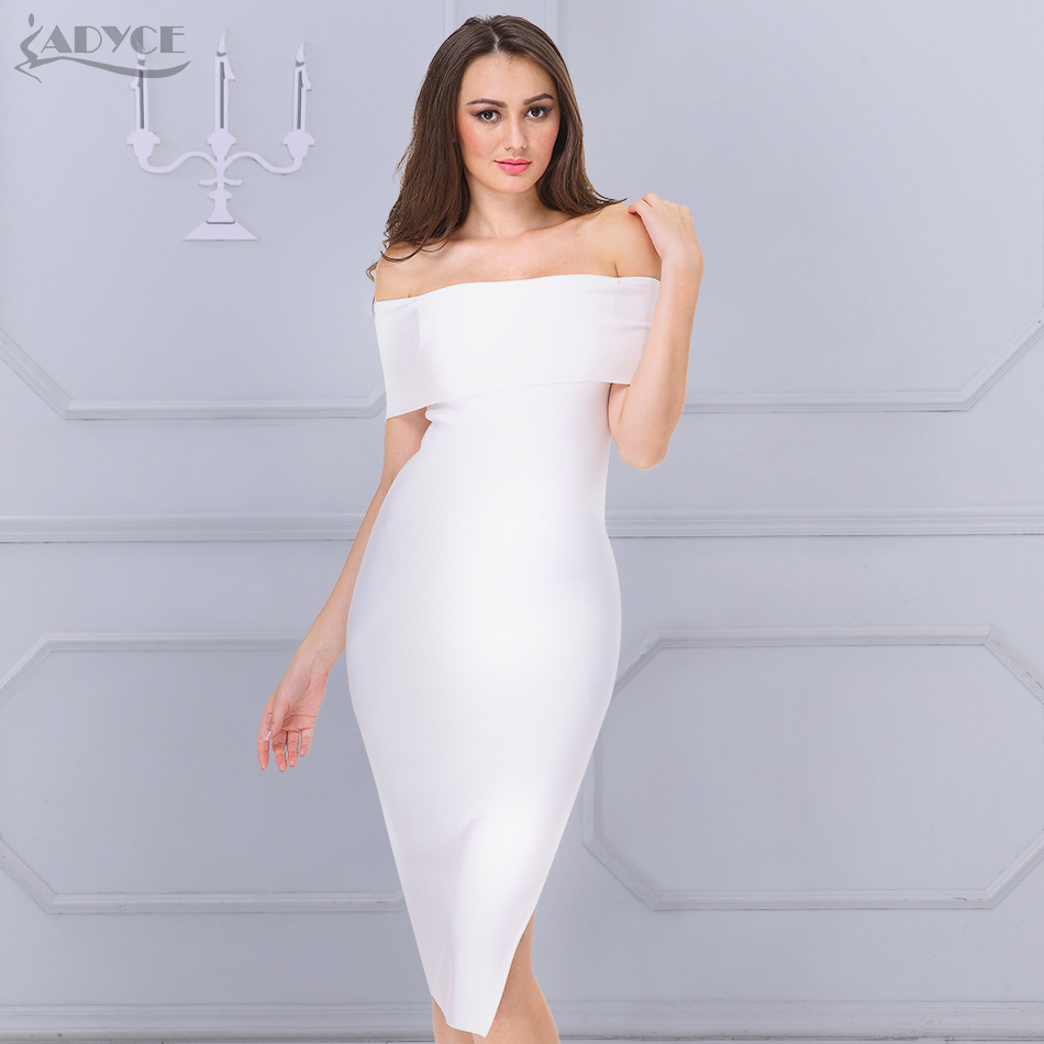 d8b3692a2fc ADYCE 2018 New Celebrity Runway Bandage Dress Women White Black Red Sexy  Off -Shoulder Midi