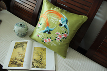 45*45cm Chinese Handmade embroidered 2 birds and flower Dark Green Silk Cushion Cover without interior for home decoration