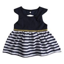 2017 Cute Newborn Baby Dress Summer Sleeveless Back Hole Striped Baby Princess Girls Mini Dress Children Clothes 0-24M