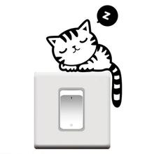 1PC Cute Sleepy Cartoon Cat Room Window Wall Decorating Switch Vinyl Decal Sticker Decor Switch Sticker Levert Dropship mar6
