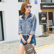 new arrived autumn Spring Coat Jackets woman denim Fashion long sleeves Slim Hole Pattern Single Breasted upper outer garment(China)