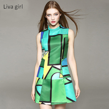 Liva Girl Women Dresses Geometric Design Fashion Summer Clothes Sleeveless Mixed Colors A-Line Dress Sexy European Style YP70639