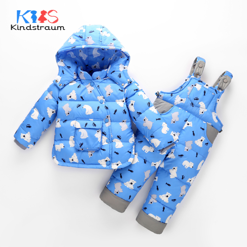 Kindstraum 2017 New Winter Kids Baby Clothing Sets Duck Down 2pcs Hooded Coat+Rompers Children Bear Cartoon Warm Jumpsuit, MC863<br>