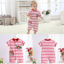 2016 High-quality Summer Baby Rompers Baby Boys Girls Casual Striped Short-sleeved Jumpsuits Cotton Cartoon Infant Clothes V49