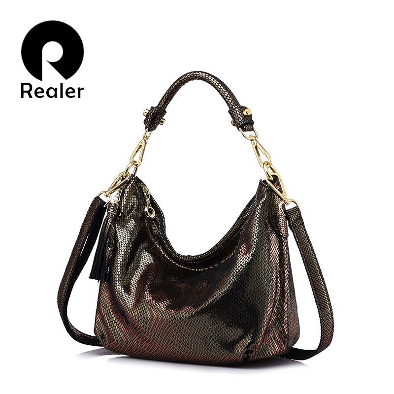 REALER brand women genuine leather shoulder bag serpentine pattern small handbag Female casual tote bag lady crossbody bags<br>