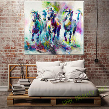 Kate Tela HD Pintura Impresa Sobre Lienzo Arte Animales Acuarela Running Horse Pared Pictures For Living Room Decoración Del Hogar Sin Marco