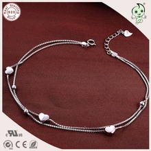 Very Popular And Fashion High Quality 925 Sterling Silver Double Circle Anklet Chain With Small Heart Charm