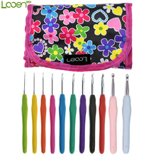 With Black Case Set of 11 Aluminum Crochet Hooks Knitting Needles Multi Color Soft Plastic Grip Handle Weave Craft 2.0mm-8.0mm