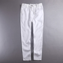 100% Linen pants men summer pure flax mens pants solid white trouser men fashion spring fall trousers male brand pantalon hombre