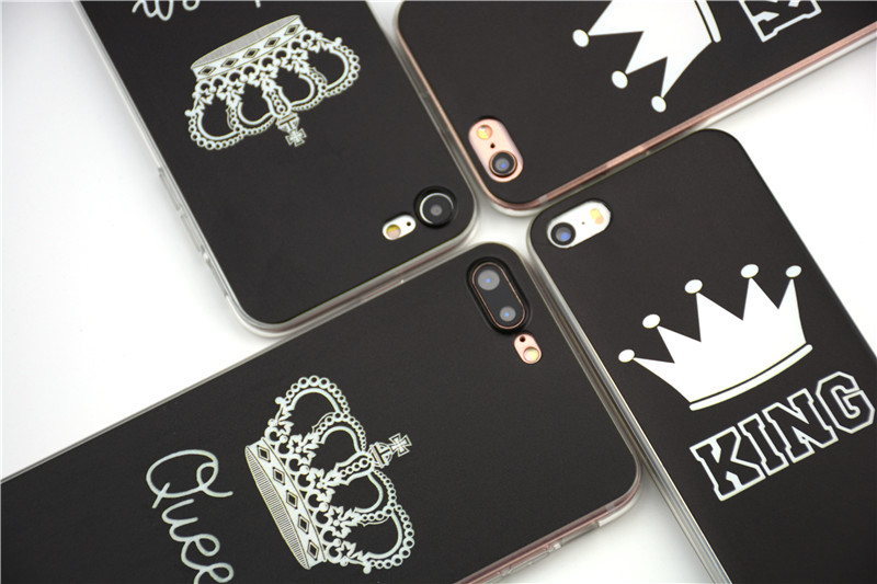 Valentine KING Queen Case for iPhone 6 Case for iPhone 5s 5 Cover Clear Silicone TPU Soft Phone Case for iPhone 8 7 6s Plus Cape 13