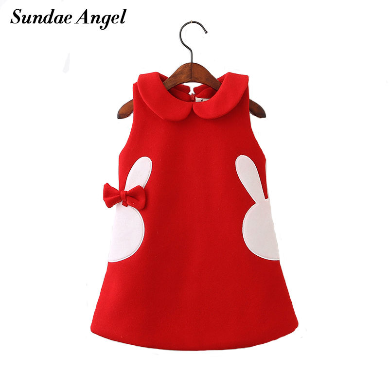 Sundae Angel Girl dress winter autumn kids dresses for girls Sleeveless Cotton Thicken Bow Rabbit Pattern Red 3 Color 2-7 Year